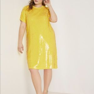 Eloquii Yellow Sequin Shift Dress size 18